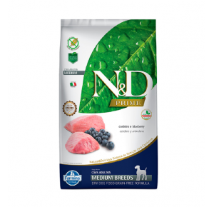 Ração Farmina N&D Prime Cães Adultos Raças Médias Cordeiro e Blueberry 2,5Kg