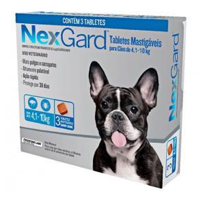 NexGard antipulgas cães de 4,1 a 10 Kg - 3Tablets