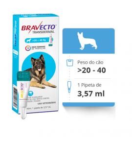 Bravecto Transdermal Antipulgas E Carrapatos para Cães de 20 a 40kg