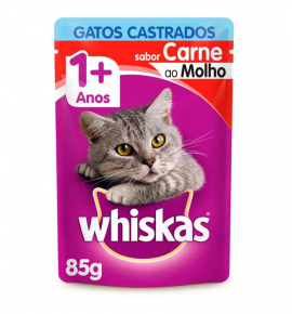 Ração Úmida Whiskas Sachê  Para Gatos Castrados Sabor Carne - 85g
