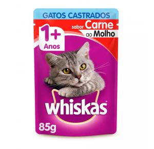Ração Úmida Whiskas Para Gatos Castrados Sachê Sabor Carne - 85g