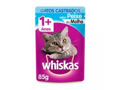 Ração Úmida Whiskas Para Gatos Castrados Sachê Sabor Peixe - 85