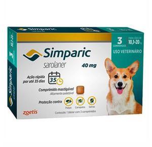 Antipulgas Simparic Cães de 10,1 a 20 Kg (3 Comprimidos)