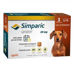 Antipulgas Simparic  Cães de 5,1 a 10 Kg (3 Comprimidos)