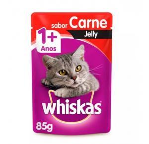 Ração Úmida Whiskas Sachê Jelly para Gatos Adultos Sabor Carne - 85g